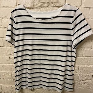 Talbots white striped top, size L